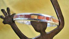 GL Miller Studio Spiny Oyster Channel Inlay 925 Sterling Silver Bangle Bracelet