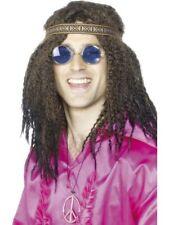 Mens Hippie Kit Headband Glasses & Necklace - 70s Fancy Dress Hippy 60s Set