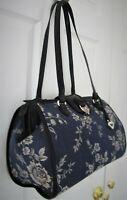 BRIGHTON White Roses & Blue Tapestry Satchel Black Leather Trim Dr Bag Purse EUC