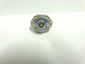 Moissanite and sapphire ring sterling silver sz 8 wgt 6.1 grams tcw 2.50