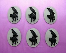 Gray 25mm x 18mm Halloween Steampunk Cameos Emo 6 Raven Crow & Black Cat on Goth