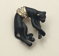 Vintage panther  Brooch In  enamel on Gold Tone Metal.