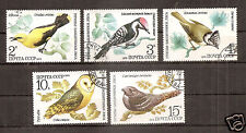 RUSSIA 1979 Birds 5v. Scott#4776/80  set used STAMPS , woodpecke r ,OWL