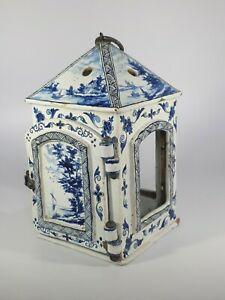 An 18th Century Dutch Delft Blue And White Tin Glazed Lantern
