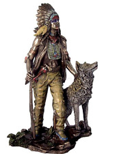 Plains Indian with Wolf Statue Bronze Finish