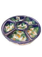 Vintage Mexican Enamel Redware  Clay Condiment Relish Chip Dip Sectioned Set 7