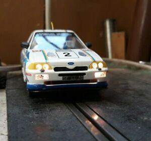 Scalextric Swedish Rally Ford Escort Cosworth detailed. Lights Juha kakkunnen