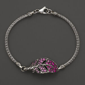JOHN HARDY Classic Chain Silver Lava Mini Feather Bracelet Mixed Pink Sapphires