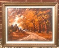 "Vintage Mid-Century Framed Oil Painting - ""Autumn in Vermont"" by Lee Simpson"