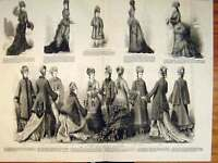 Old Antique Print Ladies Fashion Dress Costume Winter Mantles Armure 1876 19th