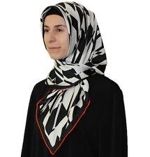 Turkish Aker Satin Square Hijab Scarf 6749 932 Black / White