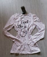 Schönes Longshirt NEU weiss Pallietten-Aufdruck Shirt Tunika 170 176 36 S