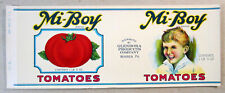 Tomatoes Glendora Products Company Warren PA Old Can Label 1942 Graphics Mi-Boy