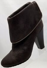 Michael Kors Ankle Boots Zip Chunk Heel Brown Leather Womens Shoes Size 8M