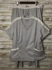 New listing Happy Scrubs 2 Piece Set Gray White Pants Size Xlp Petite V Neck Top Size Xl