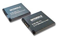 2x Intensilo Batteria 600mAh Li-Ion per Canon PowerShot A2300,A2400,A2500,A2600