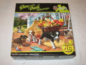 """MASTER PIECES GLOW IN THE DARK 500 PC PUZZLE – DOGS """"PLAY DATE"""""""