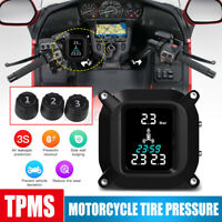 Motorcycle TPMS Real Time Tire Pressure Monitoring LCD Display W 3 Sensor System