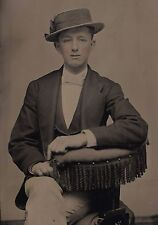 OLD VINTAGE TINTYPE PHOTO YOUNG GAY MAN POINTING TO SEXUAL PREFERENCE PINKY RING