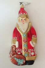 "Glass Christmas Tree Ornament Neiman Marcus 2007 Santa Claus 7"" Poland"