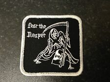 FEAR THE REAPER embroidered iron or sew on patch biker goth punk metal motif