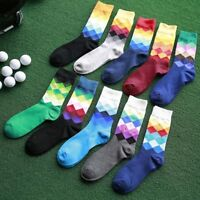 Fashion Men's Cotton Socks Warm Colorful Diamond Casual Dress Happy Socks Hot
