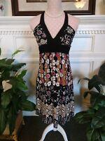 Speechless Medium Halter Top Poly-Spandex Black Floral Print Full Skirt w/Sash