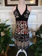 Speechless Medium Halter Top Poly-Spandex Black Floral Print Full Skirt w/Sash