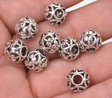 10pcs Tibetan silver charm hollow heart bead loose spacer beads 10x11mm A3174