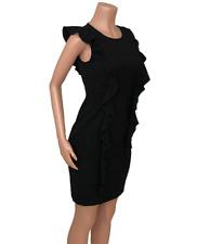 Calvin Klein Women's Sz 2 Black Sheath Dress Career Sleeveless Ruffle Front Back