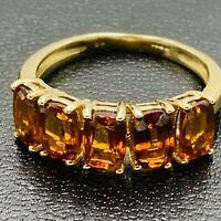 Solid 9ct 375 Yellow Gold Tanga Zircon 5 Stone Ring sz UK N 1/2 US 7 L187