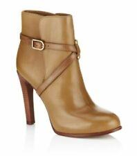 Tory Burch Brown Dorese Leather Boot Size 10.5 Elegant Tan Wood Heel