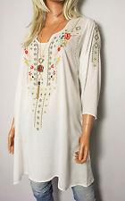 Italy túnica blusa talla M/L hippie Boho blanco floral bordado Rayon nuevo