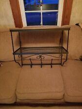New ListingLongaberger Wrought Iron Foyer Wall Unit and WoodCrafts Shelf ~Rich Brown