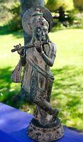 Vintage Krishna Bronze Statue lost wax cast Sculpture Handmade Balinese Art