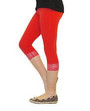 Niñas Niños Leggings Leggins Pantalones Capri 3/4 Corto Con Encaje Algodón