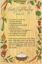 VINTAGE 1950s GARDEN VEGETABLES CANTON BEEF SHOP SUEY RECIPE NOTE CARD ART PRINT
