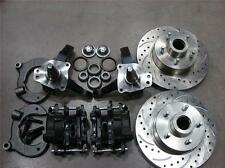 """Mustang II 2 Front 11"""" Drilled Rotor Upgrade Disc Brake Kit Chevy Stock Spindle"""