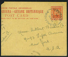 BRITISH GUIANYA US 1919 GEORGETOWN TO NEW YORK 2 CENT REDUCED POSTAL CARD