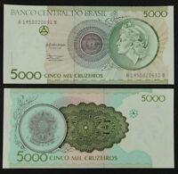 BRAZIL BRASIL Paper Money 5000 Cruzeiros 1990 UNC