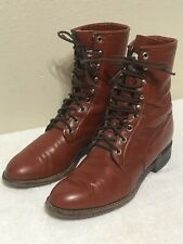 Justin Roper Lace Up Boots Mens Size 6.5 D Rust Leather Western Boot Made in USA