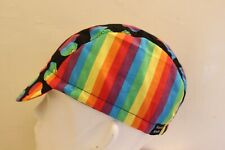 CYCLING CAP RAINBOW PRIDE 100% COTTON HANDMADE IN USA M L S
