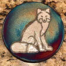 Fox Coaster Raku Pottery, handmade, handsigned - NEW