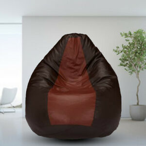 Bean bag Cover Leather Chair without Beans Tan Brown Luxuries Home Decor Gift