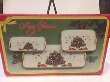 3 piece Christmas Lacquer Ware Tray set - NEW in box - Made in Japan