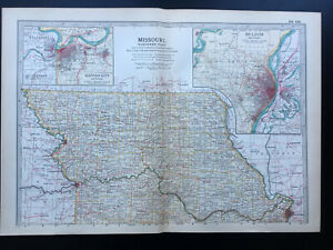 Antique Map Of Missouri Northern Kansas City St Louis  North America  1903