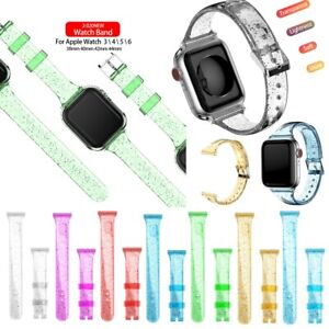 Bling Silicone Glitter Women Band Strap For Apple Watch SE Series 6 5 4 3 2 1