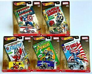 Hot Wheels 2021 Pop Culture L Marvel Comics Complete Set of 5 Cars DLB45-946L