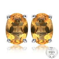 Natural Citrine Birthstone Stud Earrings, 925 Sterling Silver Earrings