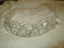 Bridal Tiara Crown Swarovski Crystal Keishi Pearl Sterling Silver Wire Wedding